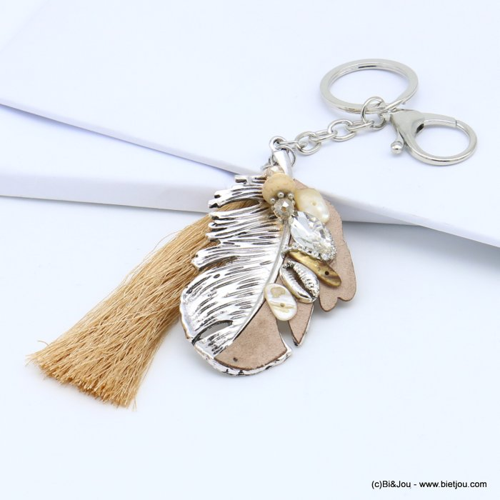 handbag key holder 0819019-06 oversize feather pendant, strass, cowrie shell, leather imitation, tassel 40x130mm