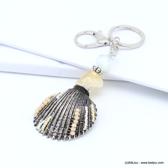 handbag key holder 0819020-06 saint-jacques shell with multiple pearls, real natural stone, faceted pearl