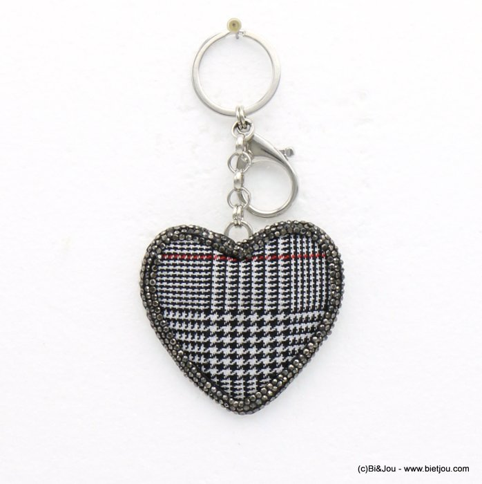 key chain 0819504-01 heart tartan metal rhinestone 65x120mm
