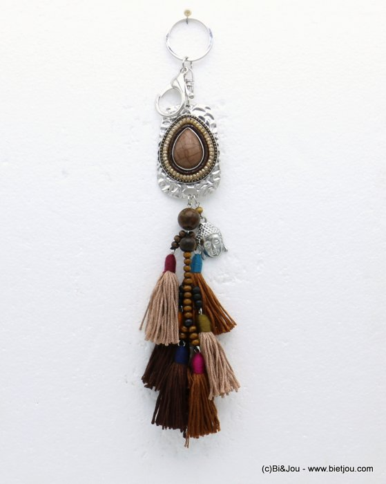 keychain 0819508-02 buddha tassel reconstituted stone-metal-polyester-crystal-wood-suede 255x40mm