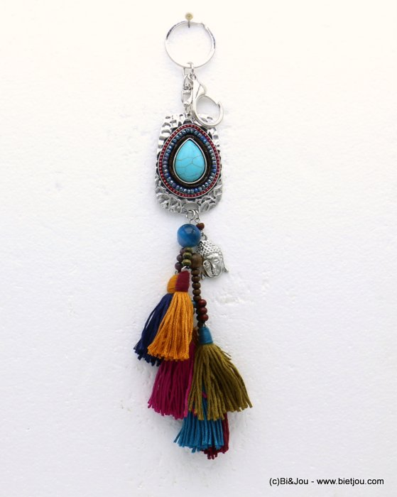 keychain 0819508-99 buddha tassel reconstituted stone-metal-polyester-crystal-wood-suede 255x40mm
