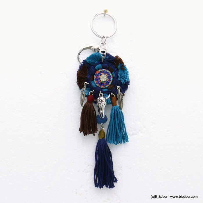 keychain 0819509-09 bull head pompon tassel metal-polyester-strass-shell-suede 55x190mm