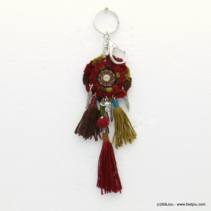 keychain 0819509-10 bull head pompon tassel metal-polyester-strass-shell-suede 55x190mm