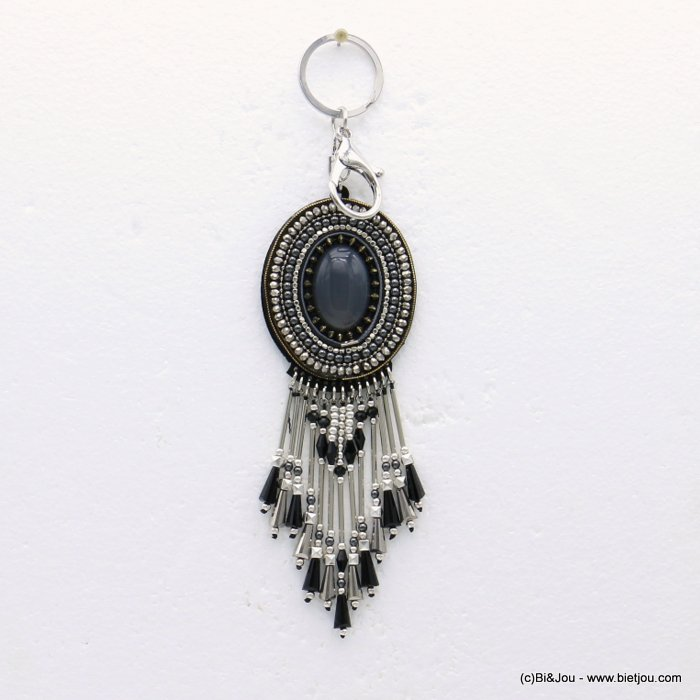 keychain 0819510-01 metal-resin-crystal-suede 53x205mm