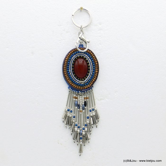 keychain 0819510-08 metal-resin-crystal-suede 53x205mm