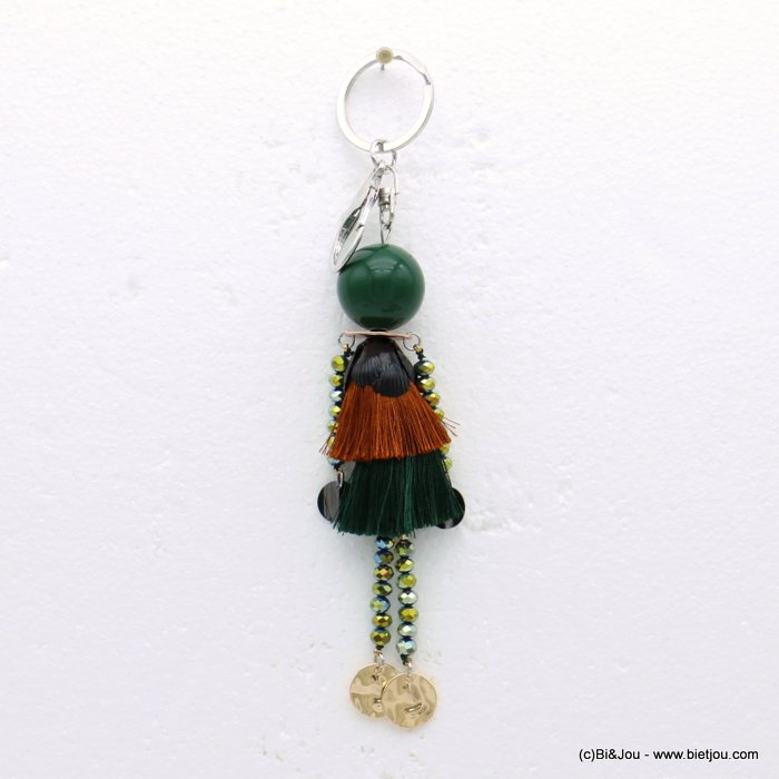 keychain 0819511-07 doll crystal polyester acrylic metal 35x180mm