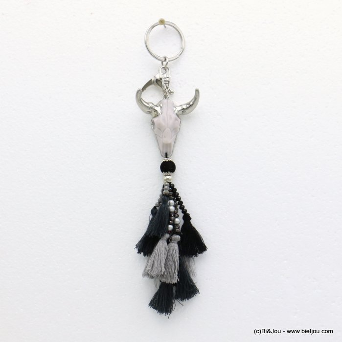keychain 0819514-01 ram head pompon tassel metal-polyester-crystal-resin 43x200mm