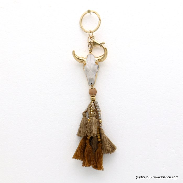 keychain 0819514-02 ram head pompon tassel metal-polyester-crystal-resin 43x200mm