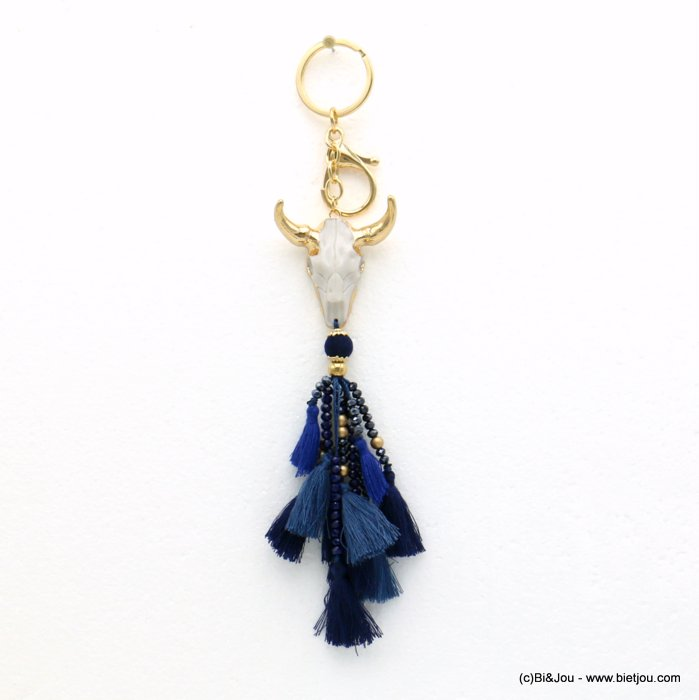 keychain 0819514-09 ram head pompon tassel metal-polyester-crystal-resin 43x200mm