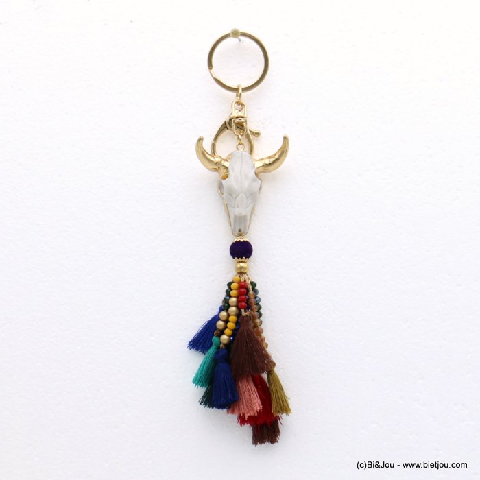 keychain 0819514-99 ram head pompon tassel metal-polyester-crystal-resin 43x200mm