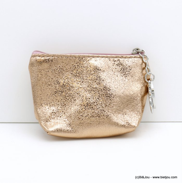 wallet 0820005-18 shiny glitter in polyester with keyholder ring for woman 12x9cm