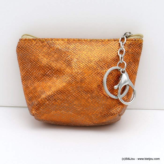 wallet 0820501-11 shiny glitter snake effect in polyurethan with keyholder ring for woman 12x9cm