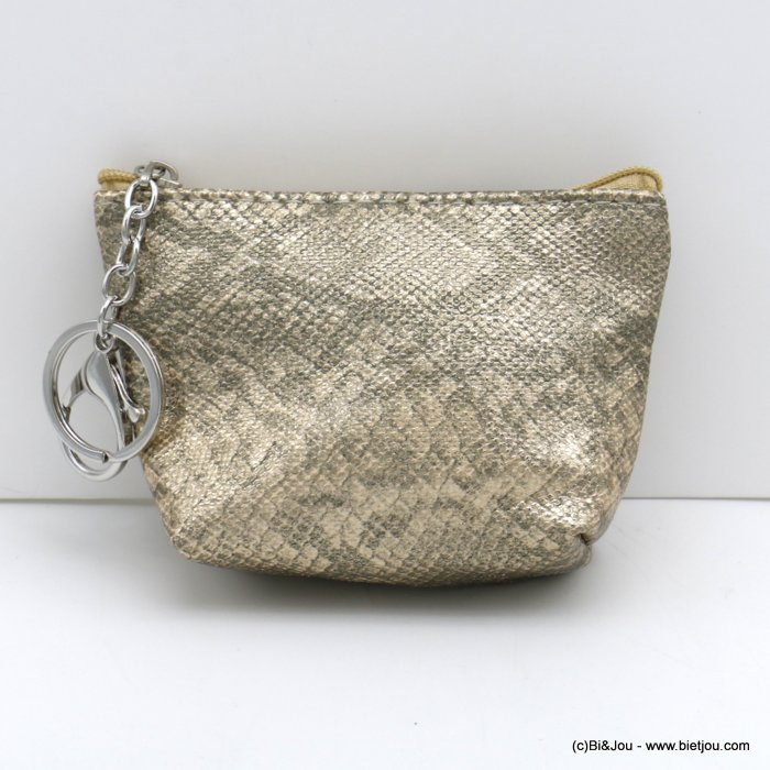 wallet 0820501-14 shiny glitter snake effect in polyurethan with keyholder ring for woman 12x9cm