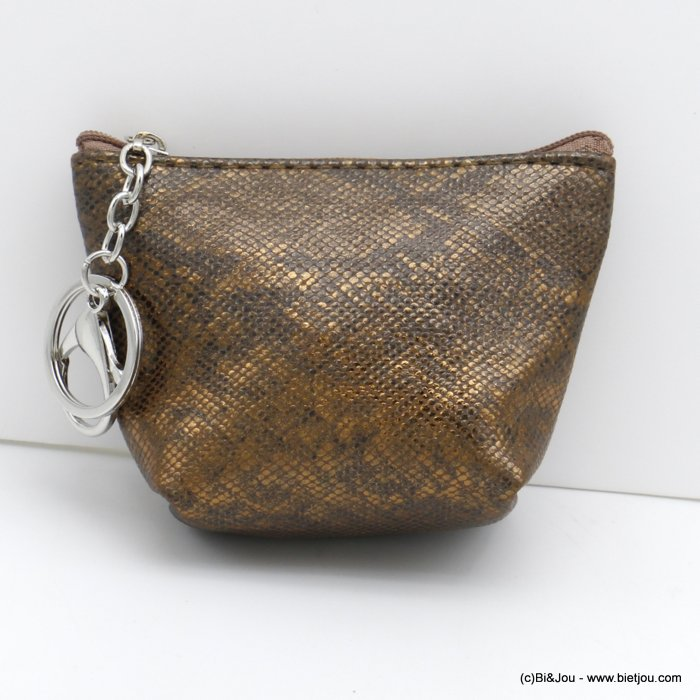 wallet 0820501-15 shiny glitter snake effect in polyurethan with keyholder ring for woman 12x9cm