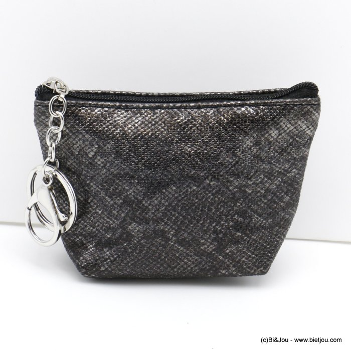 wallet 0820501-20 shiny glitter snake effect in polyurethan with keyholder ring for woman 12x9cm