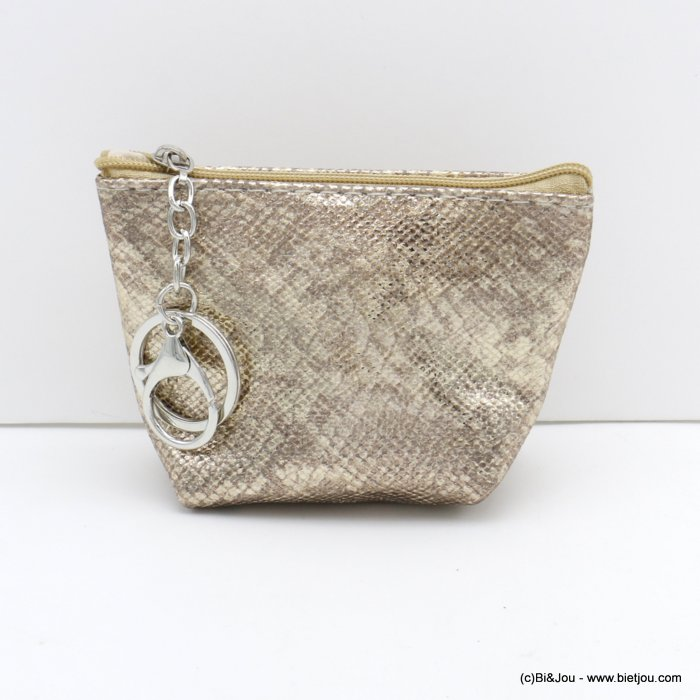 wallet 0820501-23 shiny glitter snake effect in polyurethan with keyholder ring for woman 12x9cm