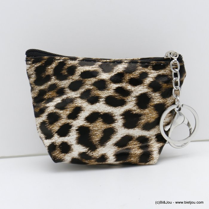 wallet 0820502-02 leopard pattern polyurethan with keyholder ring for woman 12x9cm