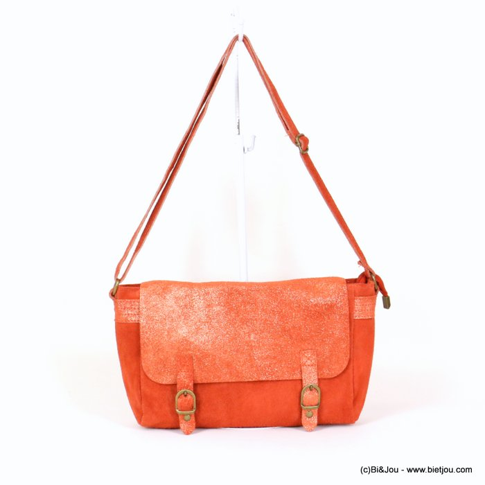 handbag 0918006-36 saddlebag suede style 34x19x9cm GENUINE LEATHER