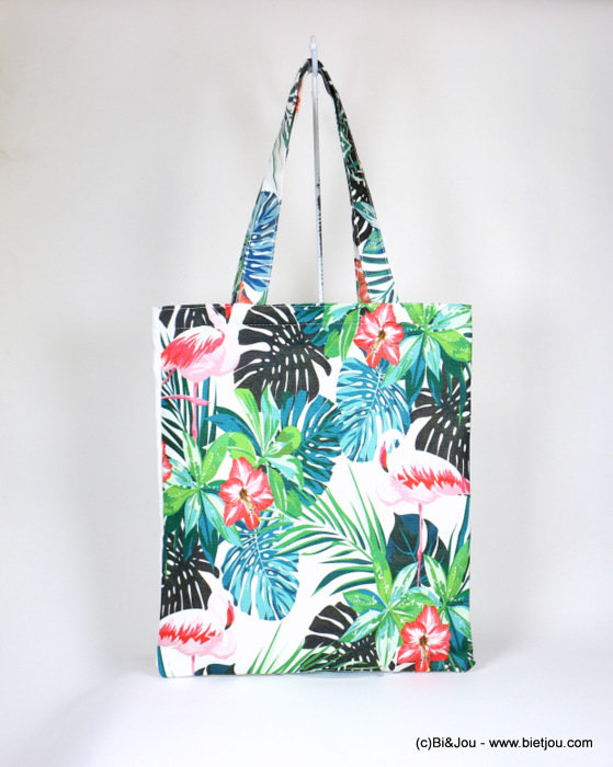 sac à main 0918038-07 tote bag Flamant Rose Jungle 34x40cm 80%coton 20%polyester