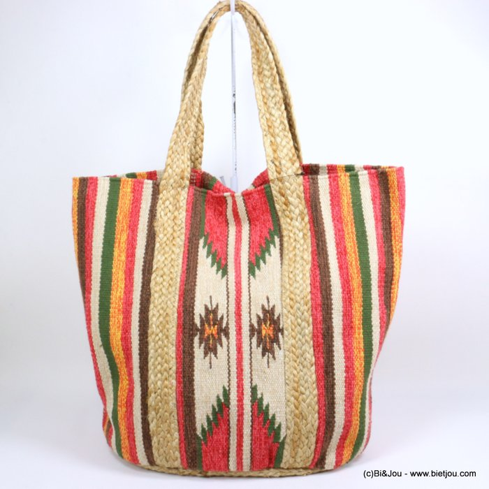 shoulder tote bag ikat canvas cotton jute 0918146-12 50x40x25cm