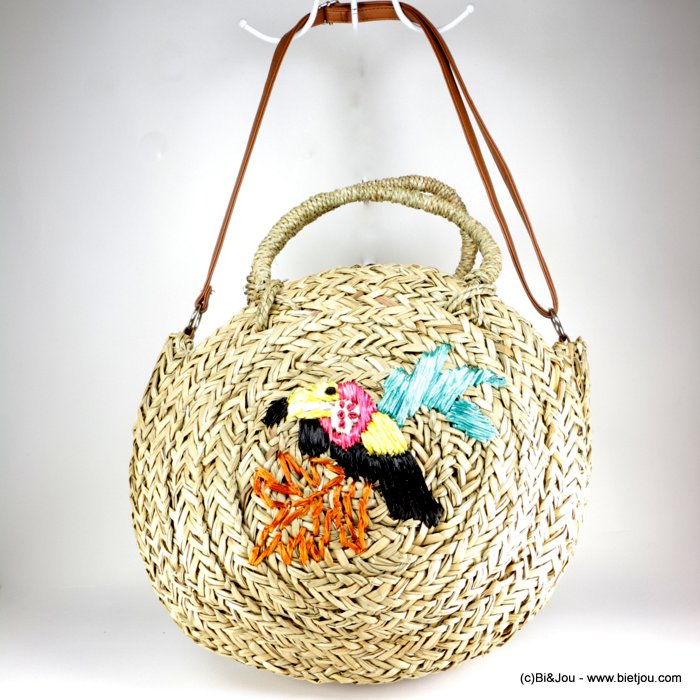 handbag 0918157-99 round basket toucan woven sea grass faux-leather strap synthetic 36x8cm