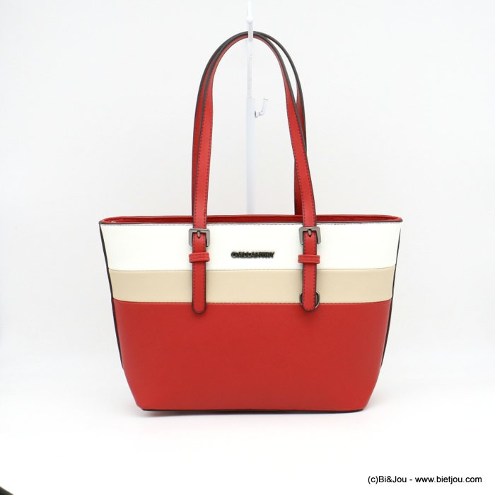 handbag 0919014-12 mini tote textured rigid faux-leather 3-bands woman 36x23x12cm synthetic