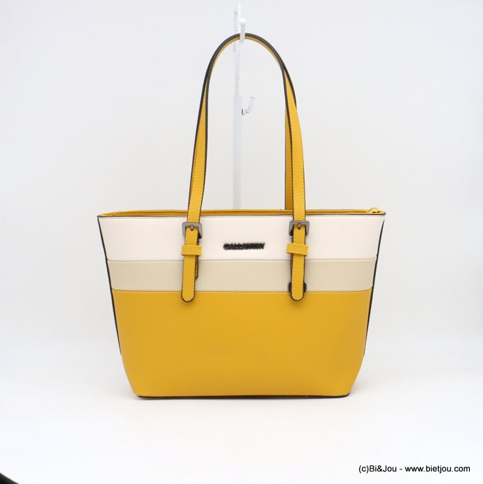 handbag 0919014-14 mini tote textured rigid faux-leather 3-bands woman 36x23x12cm synthetic