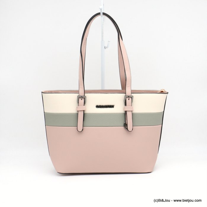 handbag 0919014-18 mini tote textured rigid faux-leather 3-bands woman 36x23x12cm synthetic