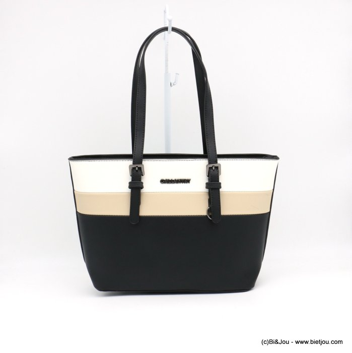 handbag 0919014-30 mini tote textured rigid faux-leather 3-bands woman 36x23x12cm synthetic