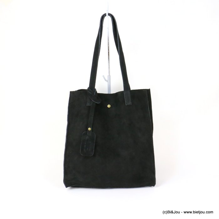handbag 0919022-01 GENUINE LEATHER tote suede style 32x33.5x11.5cm