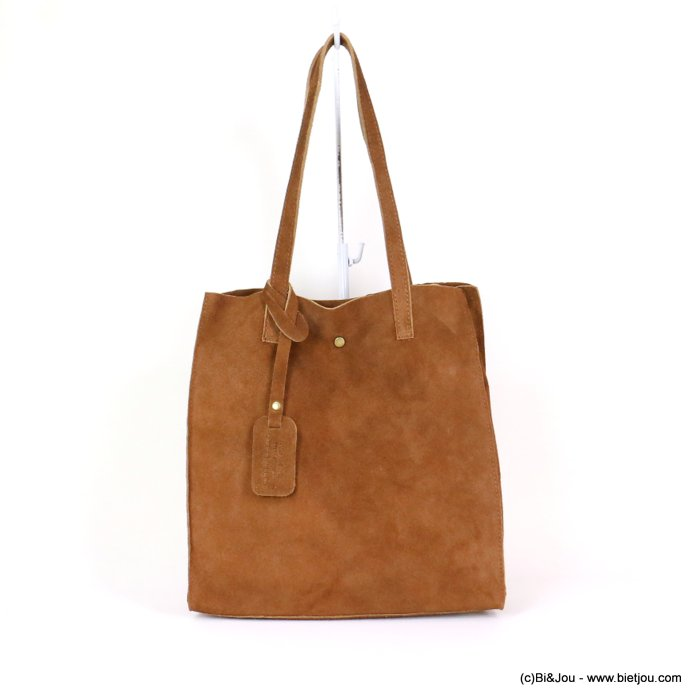 handbag 0919022-02 GENUINE LEATHER tote suede style 32x33.5x11.5cm