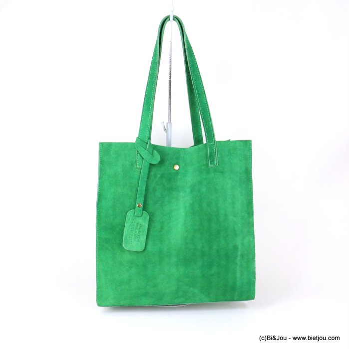 handbag 0919022-07 GENUINE LEATHER tote suede style 32x33.5x11.5cm