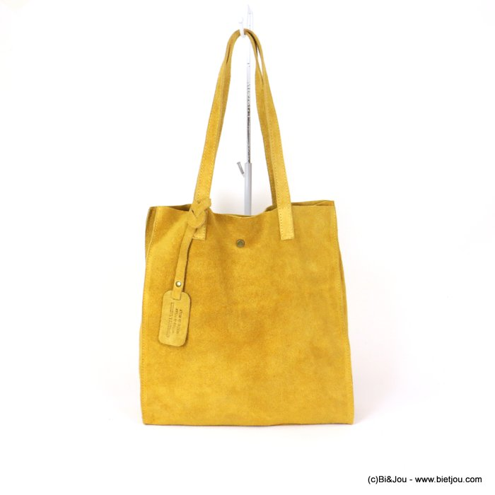 handbag 0919022-43 GENUINE LEATHER tote suede style 32x33.5x11.5cm