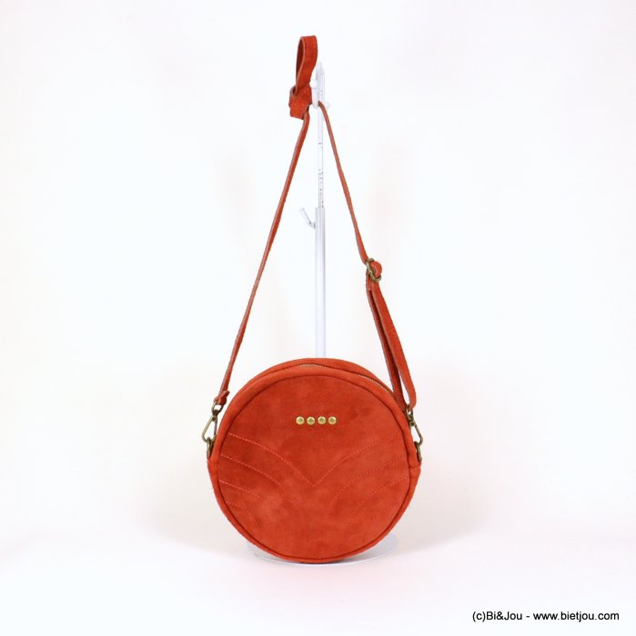 handbag 0919023-36 suede style 21x5.5cm GENUINE LEATHER