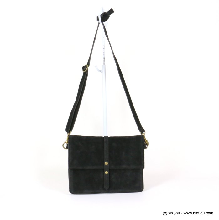 handbag 0919029-01 GENUINE LEATHER suede style 22x17x3.5cm