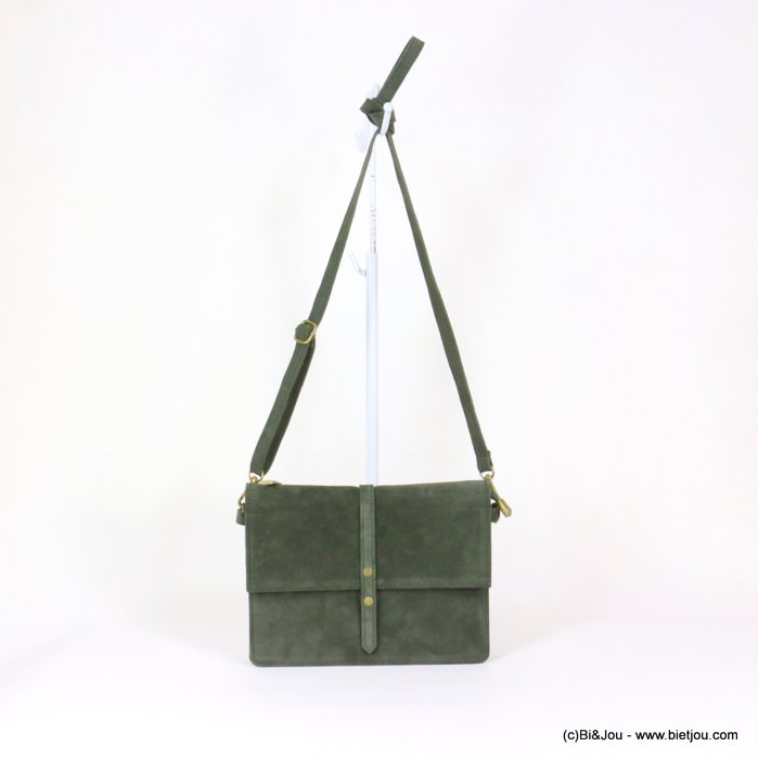 handbag 0919029-07 GENUINE LEATHER suede style 22x17x3.5cm
