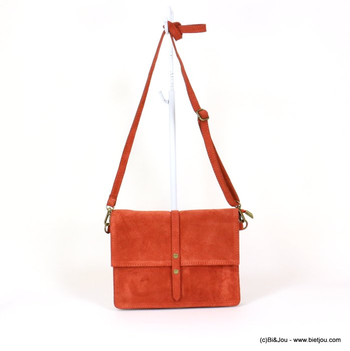 handbag 0919029-36 GENUINE LEATHER suede style 22x17x3.5cm