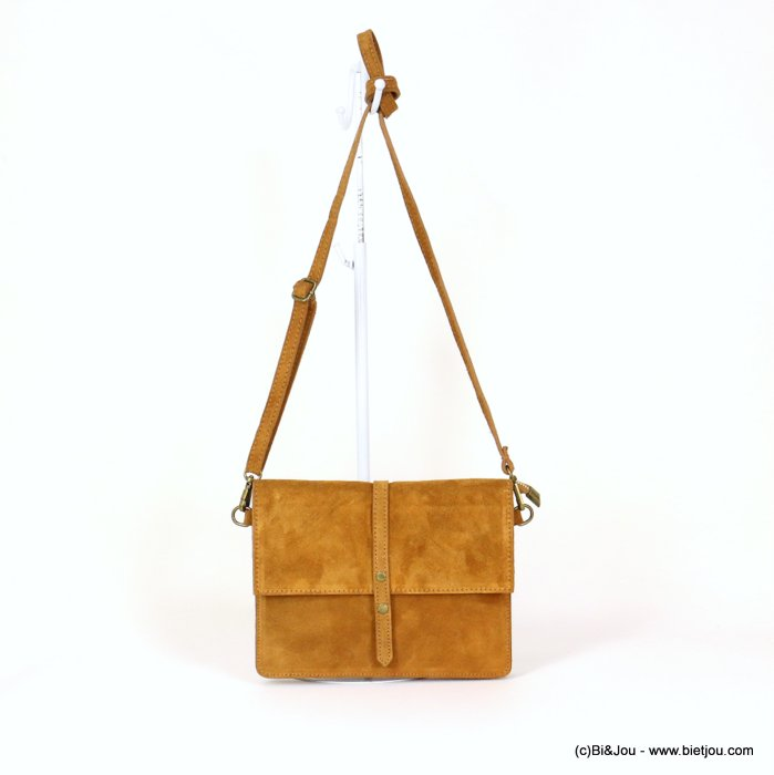 handbag 0919029-43 GENUINE LEATHER suede style 22x17x3.5cm