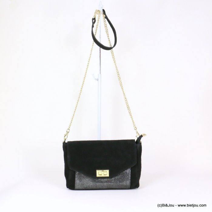 handbag 0919031-01 GENUINE LEATHER suede style 25.5x15x6cm