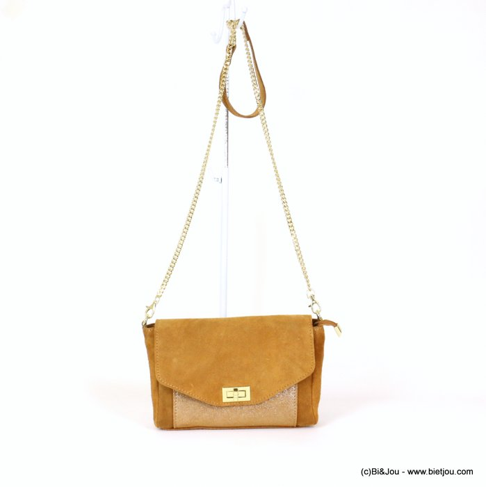 handbag 0919031-02 GENUINE LEATHER suede style 25.5x15x6cm