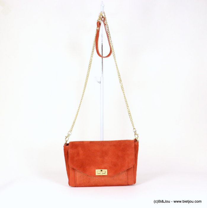 handbag 0919031-36 GENUINE LEATHER suede style 25.5x15x6cm