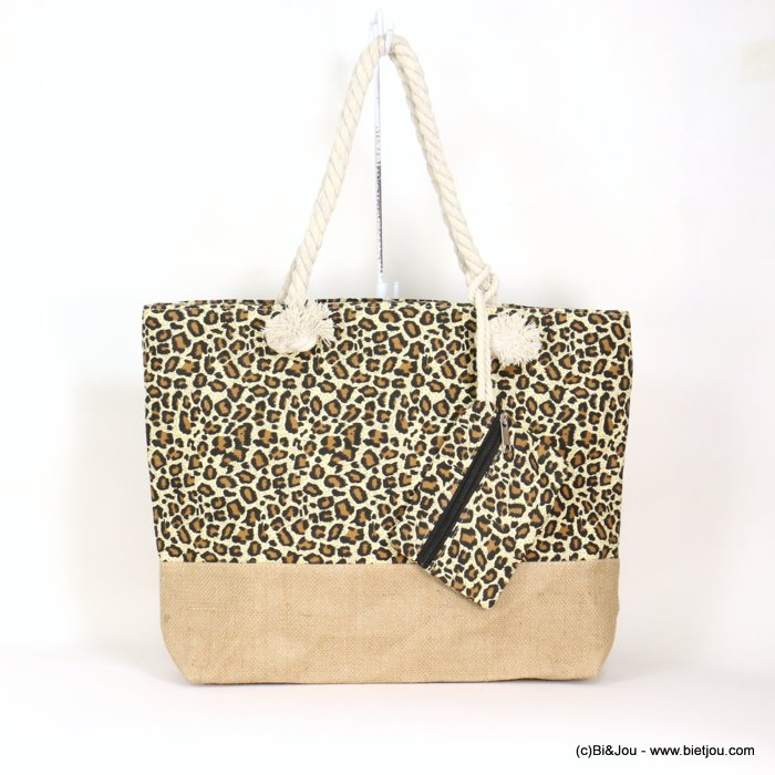 handbag 0919050-06 +PURSE tote beach bag leopard-print navy style Twisted Rope jute 35%coton 65%polyester