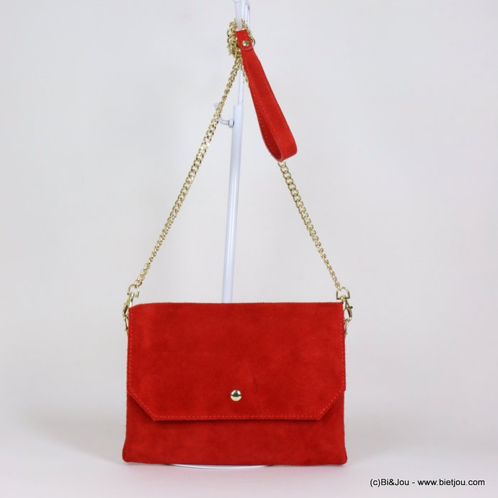 handbag 0919107-12 clutch GENUINE LEATHER suede style 22x18cm