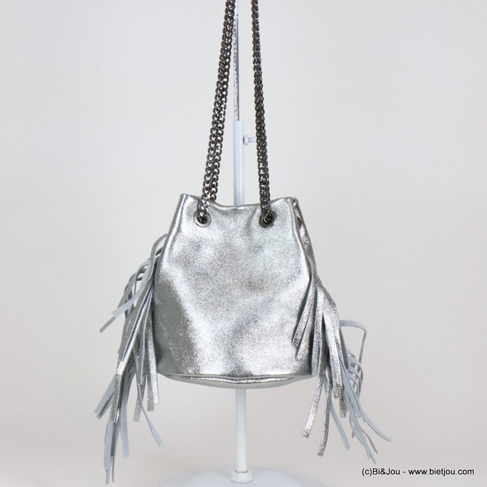 handbag 0919109-13 fringe purse GENUINE LEATHER shiny 17x17cm
