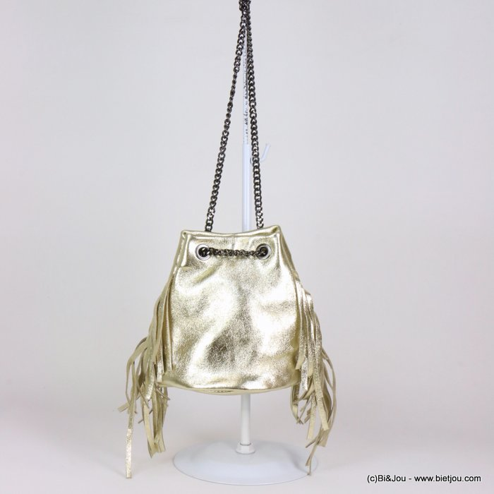 handbag 0919109-14 fringe purse GENUINE LEATHER shiny 17x17cm