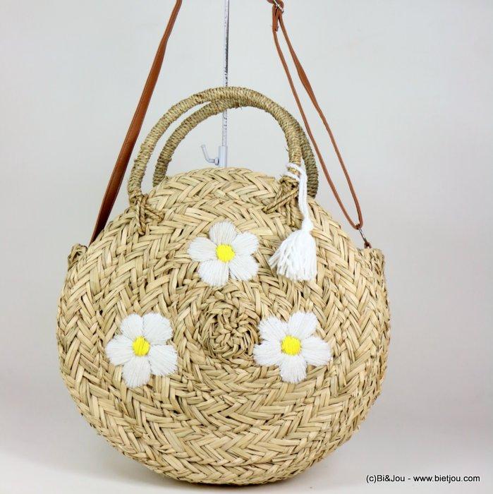 sac à main 0919115-19 panier rond de plage herbier marin tressé motif marguerites 35x35x10cm