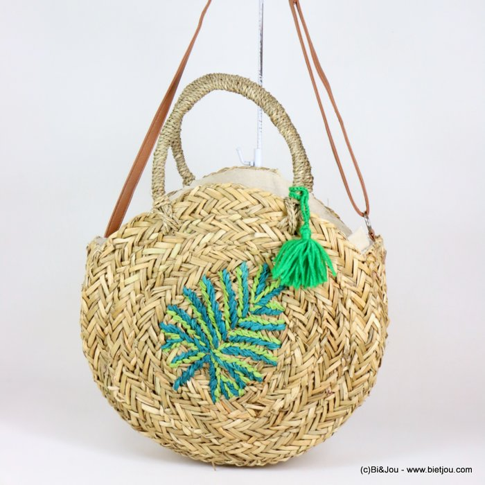 handbag  0919116-07 round beach basket woven sea grass leaf pattern 35x35x10cm