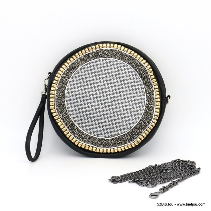 handbag 0919503-13 houndstooth glitter synthetic 19x3.5cm