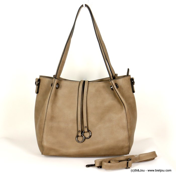 handbag 0919512-30 faux-leather synthetic double ring soft removable shoulder strap 30x26x12cm