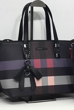 handbag 0919514-09 mini tote tartan print rigid textured imitation-leather synthetic 33x20x12cm